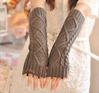 Wholesale 32 cm Ladies Women Winter Gloves Knitted Long Hand Wrist Arm Warmer Fingerless Warm Gloves Mittens attractive in price and quality