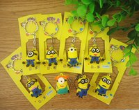 Wholesale Despicable Me2 keychains Minions Action Figure cartoon Keychain Keyring Key Ring Design Cute Three dimensional soft rubber key chain