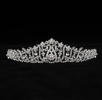 beauty free silks - Shinning Wedding Bridal Crystal Veil Tiara Crown Headband Hairwear Beauty Pageant Crown Headpiece In Stock Hot