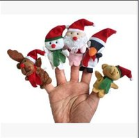 bear hand puppets - 500pcs CCA2628 Hot set Cartoon Christmas Santa Claus Finger Toys Puppet Plush Toy Snowman Bear Dolls For Kids Baby Kids Novelty Gifts