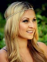 Wholesale 2016 Cheap women s fashion Bohemian pearl Metal band hair hair accessories forehead chain Headband
