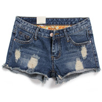 Cheap Wholesale-2015 Plus size 26-36 for Women vintage shorts jeans feminino Ripped Hole short jeans denim female distress cutoffs shorts