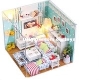 Wholesale Wooden Dollhouse Miniature With Cover Led Light D Handmade Wooden Assembles Model Building Butterfly Love