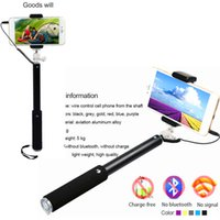 Wholesale Wired Extendable cm Self Selfie Stick Handheld Monopod Clip Holder tripod stick to self for iPhone PLUS Samsung smartphone