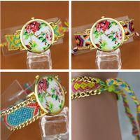 Cheap 2015 new geneva rose flower watch Braided Rope weave handmade bracelet watch women ladies fashion dress wrist watches for women