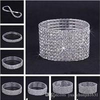 Wholesale 10PCS Rows Rhinestone Austria CZ Bracelets Crystal Wedding Bride Stretchy Bangle Wristband Jewelry Bracelet YZT
