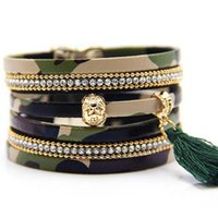 Wholesale Hot sale camouflage Bracelets for lovers Bohemian woven camouflage PU leather multi layers bracelets with magnetic buckle bracelet B0224
