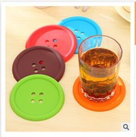 Wholesale Round Silicone Coasters Cute Button Coasters Creative Household Supplies Cup mat Drink Placemat Tableware Coaster R1027