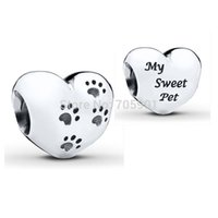 Cheap New! 925 Sterling Silver Charm Hearts Baby Footprints European Floating Charms Silver Beads For Snake Chain Bracelet DIY Jewelry