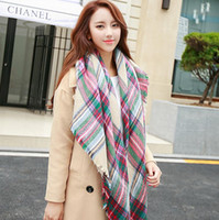 knitted cashmere scarf - 2016 new imitation cashmere women Shawl Scarfs Plaid Scarf Warm Soft Winter Blanket Scarf Knitted shawl