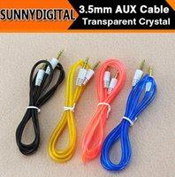 Wholesale DHL AUX Color Transparent Crystal Audio line Male to Male Audio line M