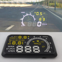 Wholesale W02 quot HUD Head up Display OBDII Car Projector PC Driving Data Speedometer Speeding Warning Security System