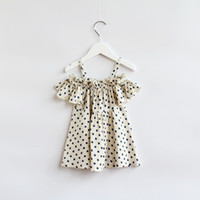 Wholesale 2015 Kids Girls Ruffle Polka dots Shirts Baby Girl Off shoulder princess jumper tops Singlet babies clothes