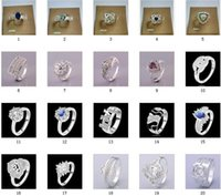 Wholesale Top September New Hot Sales Sterling Silver Crystal Charms Rings Vintage Rings Styles Select Size