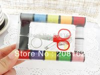 Wholesale Portable Sewing Box Household Needle Thread Scissors Ring Kit Sewing Tools mix order usd