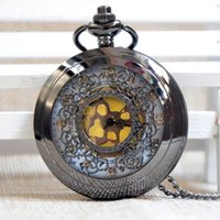 mens pocket watches - New Retro Black Flower Dial Quartz Pocket Watch Gift Mens Womens watches Necklace Pendant Luxury Watches Gifts P233s