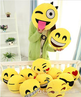 Wholesale 27 Styles Diameter cm Cushion Cute Lovely Emoji Smiley Pillows Cartoon Cushion Pillows Yellow Round Pillow Stuffed Plush Toy HHA29