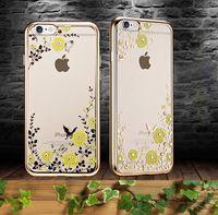 Купить Цветущие сады-Screat Сад гальванических бампер цветочным узором Clear Мягкий ТПУ резиновый чехол назад чехол для iPhone 7 7Plus 6S PLUS Примечание 7 S7 EDGE