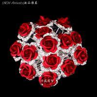 Wholesale Hot Sale Clear Crystal Rhinestone ROSE Flower Women Wedding Bridal Hair Pin Clips Slides Hair Jewelry