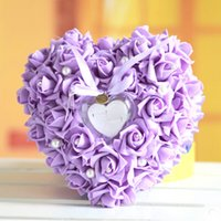 airline pillow - XT Hot sale Purple Ring Pillow Heart shaped style Ring Box creative Sky Blue Wedding Table Decoration for Bride