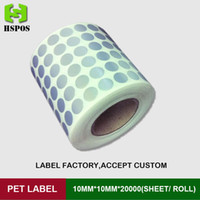 Wholesale Round matte adhesive paper label x10mm one roll six row logo stickers labels waterproof high temperature resistant