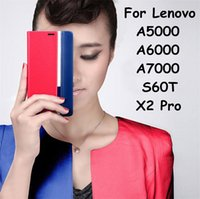 a5000 - Flip Cover Case For Lenovo A5000 A6000 A7000 S60 X2Pro High Quality Contrast Color Luxury PU Leather with Card Slot Stand Style