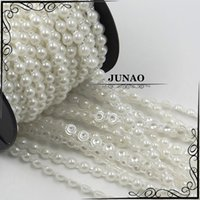 Wholesale 6mm Ivory Beige Half Pearl String Pearls Bead Trim Chain Strass Crystal Banding Bridal Applique For Wedding Clothes Decorative