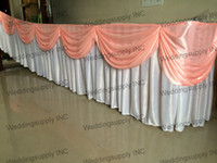 Wholesale Beatiful White silk table skirting with pink swag for holiday use