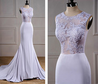 applique lace suppliers - Real Samples White Wedding Dresses Bridal Gowns Scoop Illusion Upper Chiffon Mermaid Wedding Dresses With Court Trains China Supplier LA