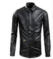 Wholesale Hot New British PU leather bee embroidery Cultivate one s morality men long sleeve shirt