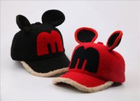 Wholesale Kids Fedora Ears - Cotton Baby hat mickey cat ear fedora hat winter warm soft kid cute cap size 50-54CM for child girl hat