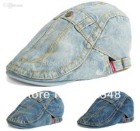 Wholesale Men Hats Button Design Denim Beret Cap Hip hop Hat Women Adjustable Hat Around Caps
