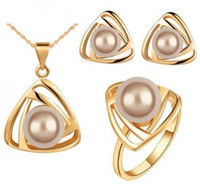 Wholesale Earring ring and necklace set american and european style pearl elegant summer concise jewelery set LG071