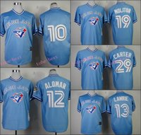 baseball brett - Toronto Blue Jays Jersey Brett Lawrie Paul Molitor Joe Carter Blue Retor Shirts Stitched Throwback Baseball Jersey