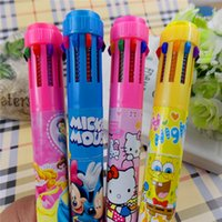 Wholesale Korea Creative Stationery Ten Colors Ballpoint Pen Spongebob Kitty Automatic Writting Pen For Kids Children Student Top Gift pen bag