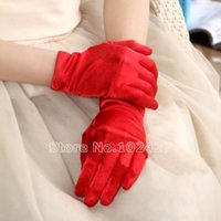 Wholesale 1 Pair Women Candy Color Satin Gloves Fashion Evening Party Bridal Wedding Opera Formal Gloves Mittens