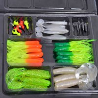 Cheap 35Pcs Soft Worm Lure Carp Fishing Lure Set + 10 Lead Head Jig Hooks Simulation Suite Soft Fishing Baits Set Tackle Pesca A3 A3