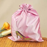 Wholesale 200pcs High quality Mix Color NEW Classic Shoes storage bag Cover Case cm Silk Embroidered Drawstring Two Layer Bags