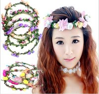 plastic headbands - Girl Flower Headbands Festival Wedding Garland Headwear Children s Hair Accessories Baby Girls Headdress Kids Lace Floral Head Bands
