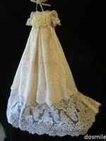 Wholesale Elegant Lace Silk Toddlers Christening Gown Formal Baptism Dress For Infant Girls Boys With Bonnet