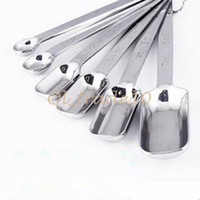 Wholesale 1000set CCA2754 Creative Stainless Steel Measuring Spoon Tool Set Narrow Spices Stainless Steel Deep Bake Kitchen Measuring Deep Spoon Tools