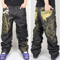 angle jeans - Jeans Hip Hop Mens New Fashion Angle Wing Embroidery Streetwear Baggy Jeans