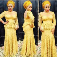 attractive pictures - 2016 Glitz Evening Dresses Aso Ebi Style Attractive Sleeve Lace Scoop Collar Open Back Yellow Prom Gowns Banquet Dress