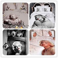 Cheap Sexy Marilyn Monroe bed duvet quilt cover sheet cotton bedding set for queen king super king bed linens 4 pieces (No comforter)