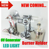 Wholesale 2015 New Hot Air Stirling Engine Model Generator Motor Improved with Alcohol Burner Holder