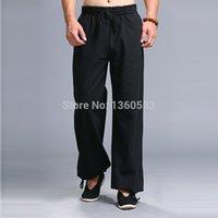 Wholesale Top quality Men pants Classic Black kung fu sport trousers martial arts tai chi sweatpants leisure training Linen Cotton pants