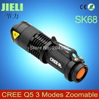 Wholesale Ultrafile Mini Black Or Gray CREE LM LED Flashlight Modes Adjustable LED Torch Light