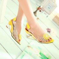 Cheap Fashion Shoes Women Sandals Transparent Wedge Heel Slip-On Peep Toe Sandalias Flower Crystal Back Strap Covered sapato feminino