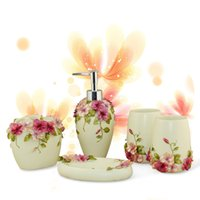 Wholesale Genuine kindness Arts pansy European pastoral style resin bathroom suite bathroom wash Wujiantao sets