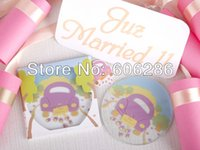 Wholesale Car Coasters Wholesale - Free shipping 100pcs lot=50sets Love theme wedding car round Glass Coaster Wedding supplies party favors